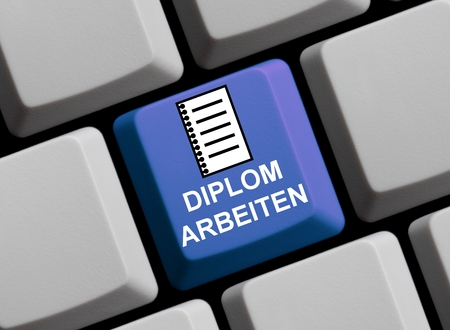 thesis: Blue Computer keyboard showing symbol of Thesis in german language Stock Photo