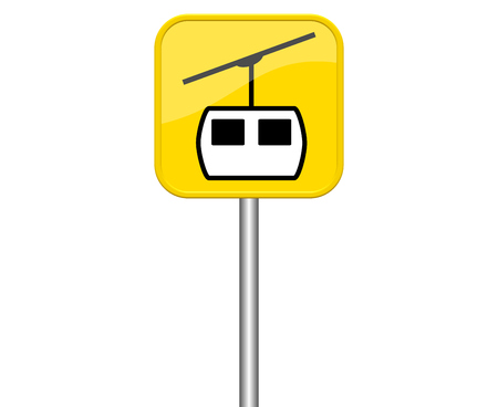 ropeway: Yellow isolated symbol sign ropeway
