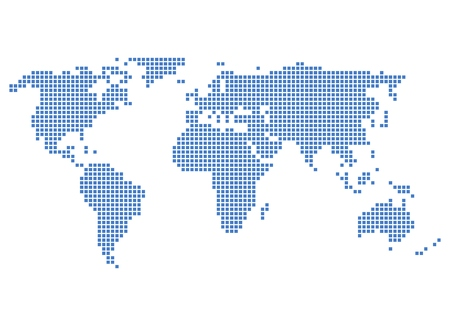 Simple World map with blue pixels