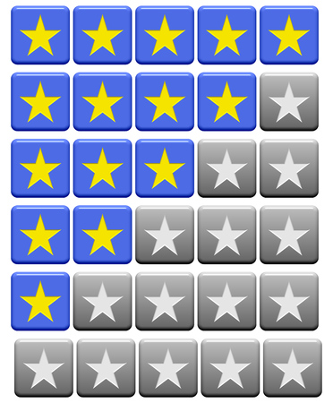 0 to 5: Blue and grey rating Buttons from 0 stars to 5 stars