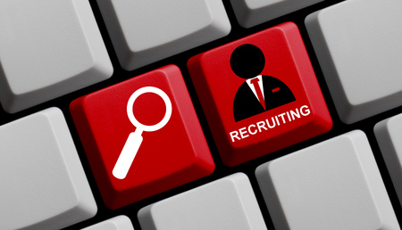 recruiting: Red keyboard is showing symbols an Recruiting