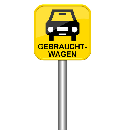 used: Isolated yellow sign showing used cars in german language Stock Photo