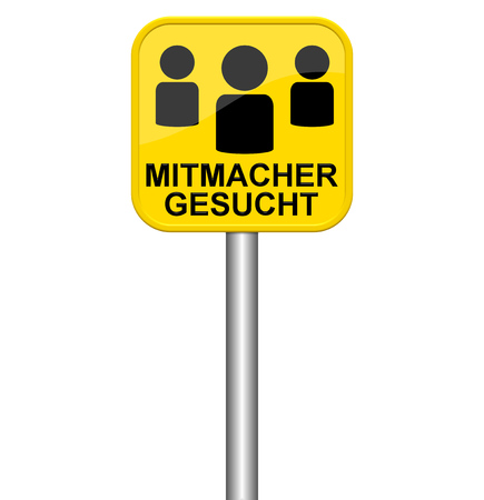 participate: Isolated yellow sign showing People to participate in german language
