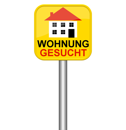 apartment search: Isolated yellow sign showing Search for apartment in german language