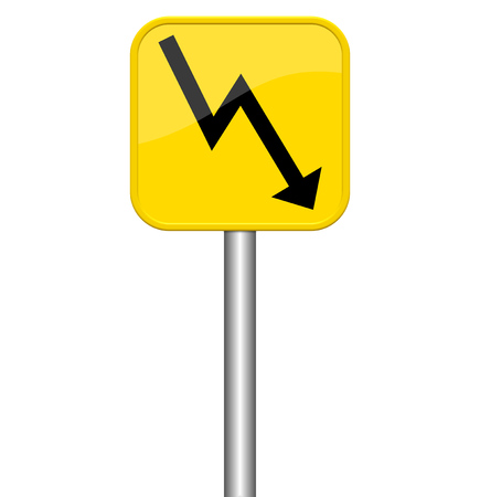 downfall: Isolated yellow sign - arrow down Stock Photo