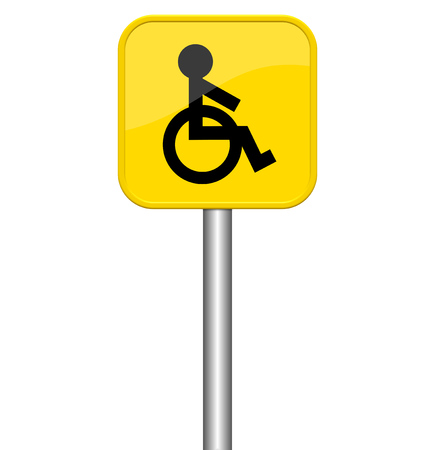 wheelchair access: Isolated yellow sign showing wheelchair