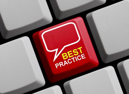 best practice: Computer Keyboard shows Best Practice Stock Photo