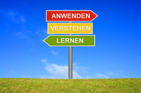 signpost: Signpost with 3 arrows shows Learn Understand Adopt in german language Stock Photo