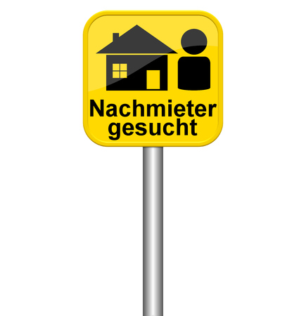 tenant: Isolated yellow sign shows new tenant in german language