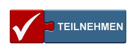 partake: Puzzle Button shows Participate in german language Stock Photo