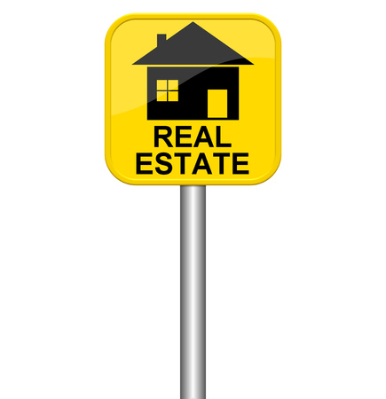 apartment search: Yellow isolated sign shows Real Estate Stock Photo