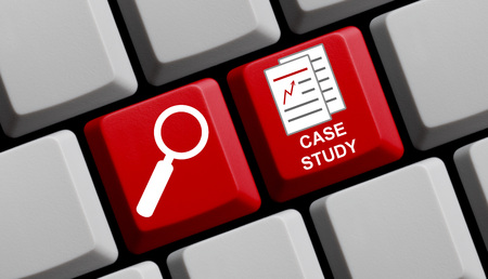 study icon: Search for case study online - Symbols on computer keyboard Stock Photo