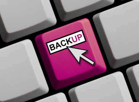 online service: Computer Keyboard with mouse arrow is showing Backup