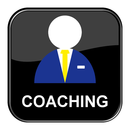 shiny black: Isolated shiny black button with symbol is showing Coaching Stock Photo