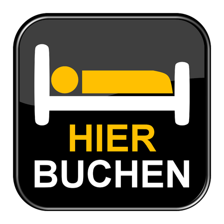 shiny black: Isolated shiny black button with Bed symbol is showing Book here in german language