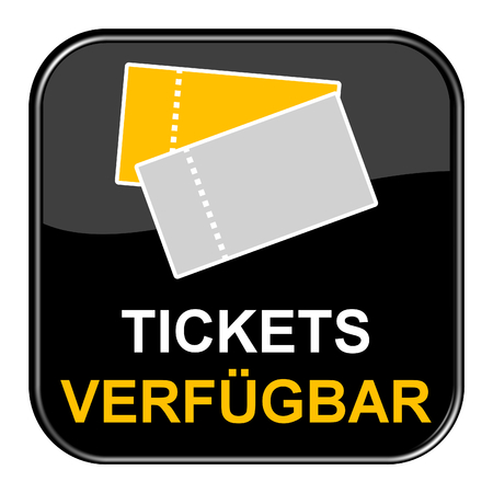 shiny black: Isolated shiny black button with symbol is showing Tickets available in german language Stock Photo