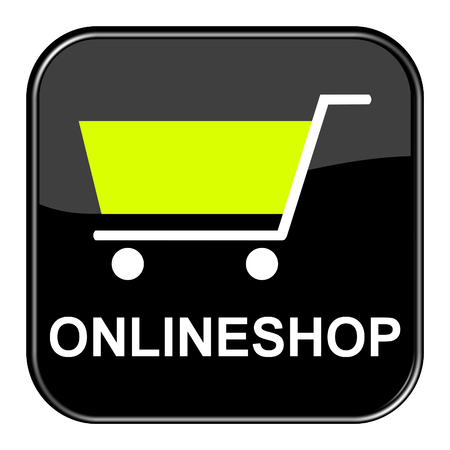 onlineshop: Isolated shiny black button with symbol is showing Onlineshop
