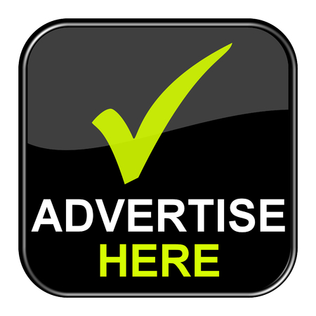 Isolated shiny black button with symbol is showing Advertise here