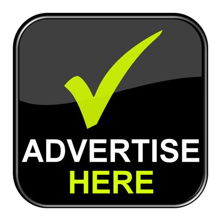 Isolierte glänzend schwarze Taste mit dem Symbol zeigt hier Werbung Lizenzfreie Bilder