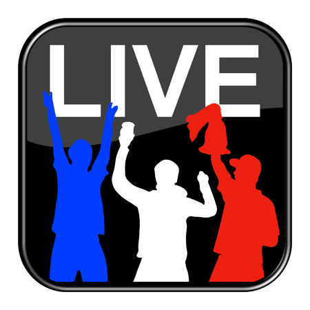shiny black: Isolated shiny black button with symbol is showing Football live France