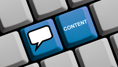 content writing: Computer Keyboard with symbol is showing Content Stock Photo