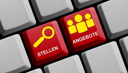 vacancies: Computer Keyboard with symbol is showing Vacancies in german language
