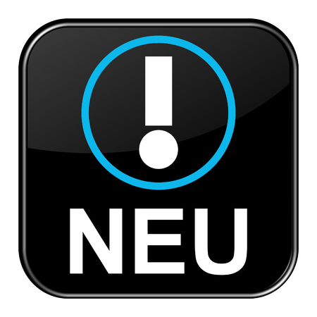 releasing: Isolated black shiny Button with symbol is showing New in german language Stock Photo