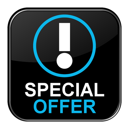 onlineshop: Isolated black shiny Button with symbol is showing Special Offer