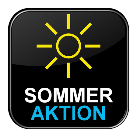 shiny button: Isolated black shiny Button with symbol is showing Summer offer in german language Stock Photo