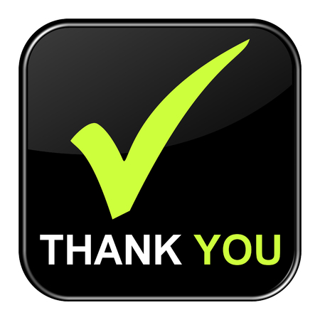 shiny button: Isolated black shiny Button with symbol is showing Thank you Stock Photo