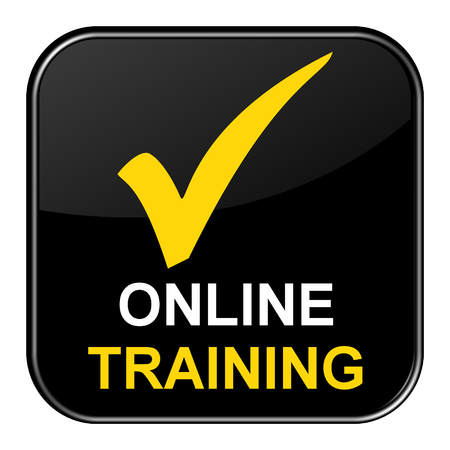 shiny button: Isolated black shiny Button with symbol is showing Online Training