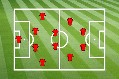 tactics: Football field with footbal tactics Stock Photo