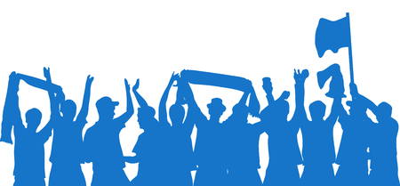 Silhouette of blue cheering Fans