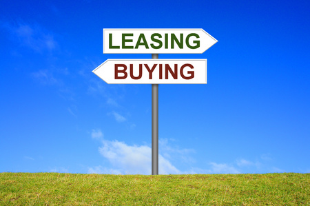 leasing: Sign with two arrows shows buying or leasing Stock Photo
