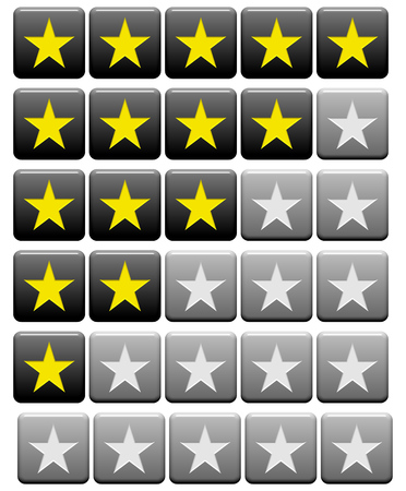 5 0: Black grey and yellow rating Buttons from 0 stars to 5 stars