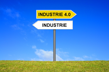 groundbreaking: Signpost is showing Industry or Industry 4.0 in german language Stock Photo
