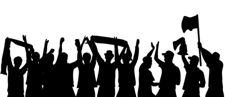 フットボールのファンの応援の黒いシルエット