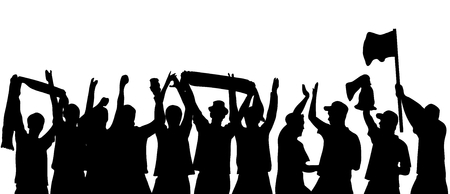 football fans: Black silhouette of cheering football fans Stock Photo