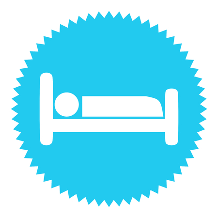 exempted: Isolated blue Button with white bed symbol