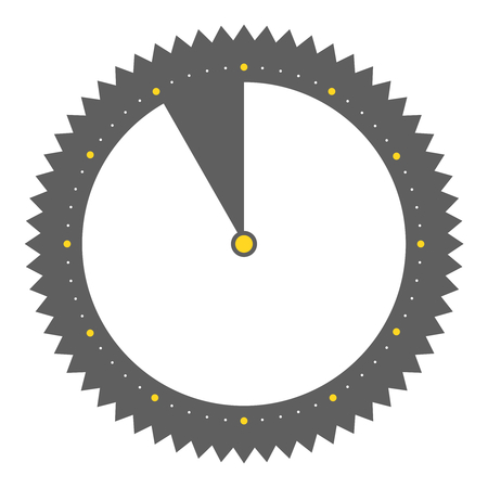 Isolated round grey Button with clock showing 55 seconds 55 minutes or 11 hours