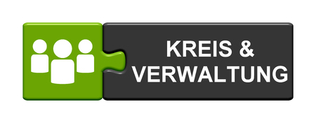 council: Isolated Puzzle Button with symbol is showing Council & Administration in german language