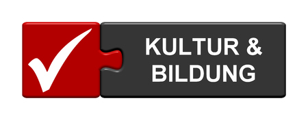 Isolated Puzzle Button with symbol is showing culture and education in german language