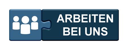 分離パズル ボタン シンボルがドイツ語で当社でジョブを表示します。 写真素材