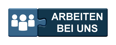 Isolated Puzzle Button with symbol is showing Jobs at our company in german language