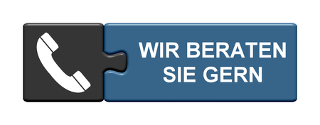 cros: Isolated Puzzle Button with symbol is showing We like to help you in german language