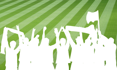 cheering fans: White silhouette of cheering football fans in stadium Stock Photo