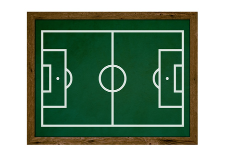 tactic: Isolated tactic board with wooden frame and football field Stock Photo