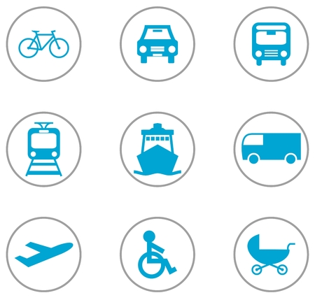 button icons: 9 Flat Design Icons Transportation blue grey