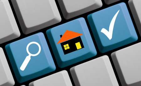 find: Find your new house online Stock Photo