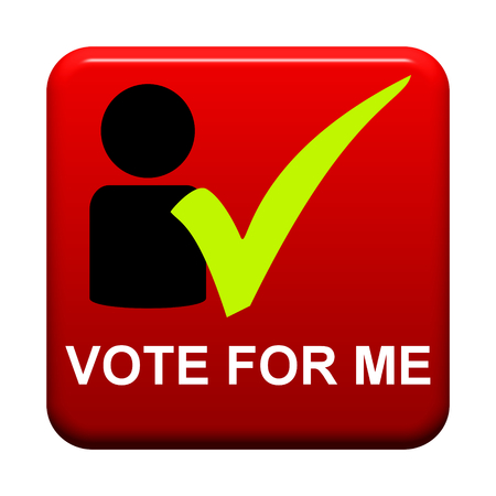 Red isolated Button with symbol is showing Vote for me